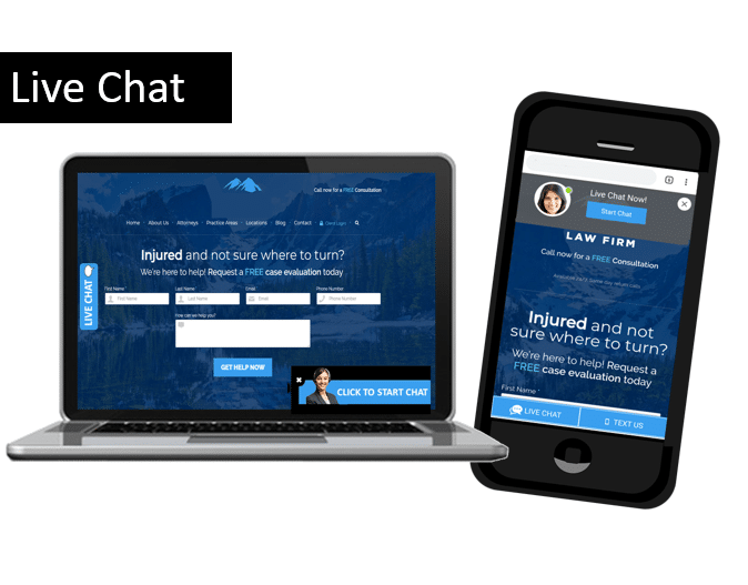 Get more leads and engage your prospects with Live Chat and text on your website.